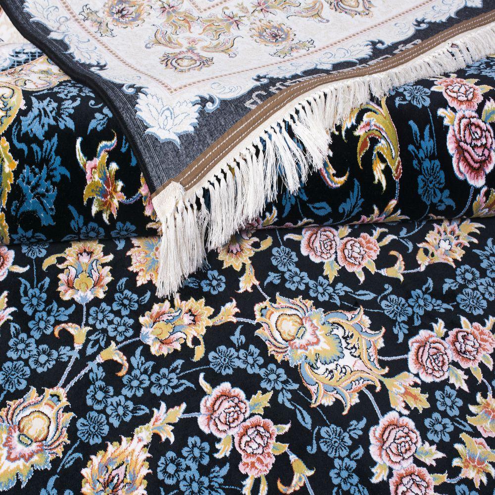 فرش رژین سرمه ای نقش گل کاشان 3