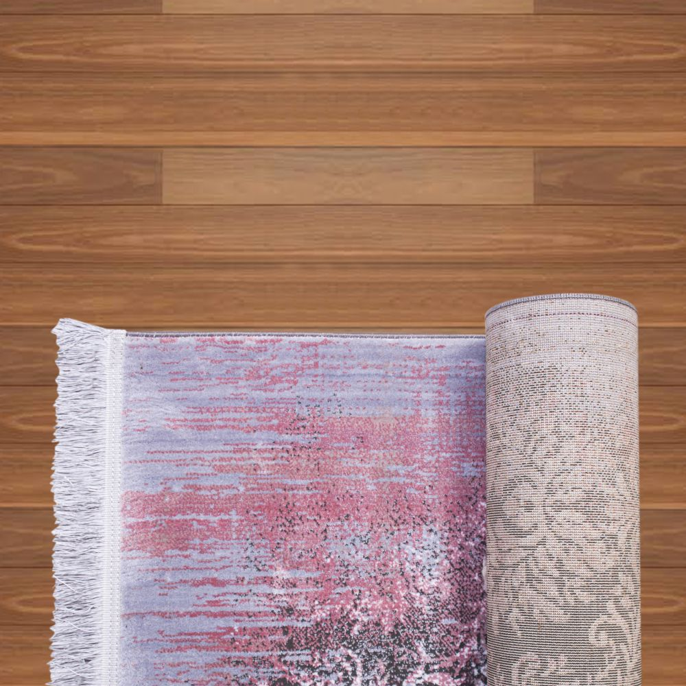 فرش فانتزی 40050 نقره ای صورتی