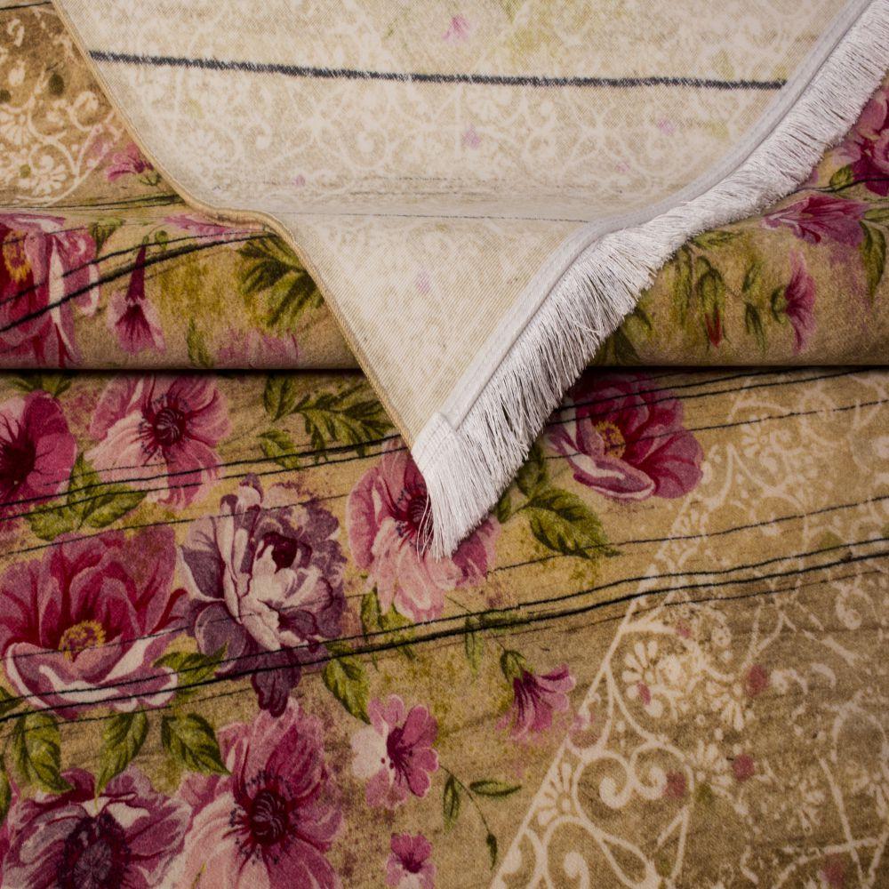 فرش فانتزی کلاریس 100590 بادامی 5