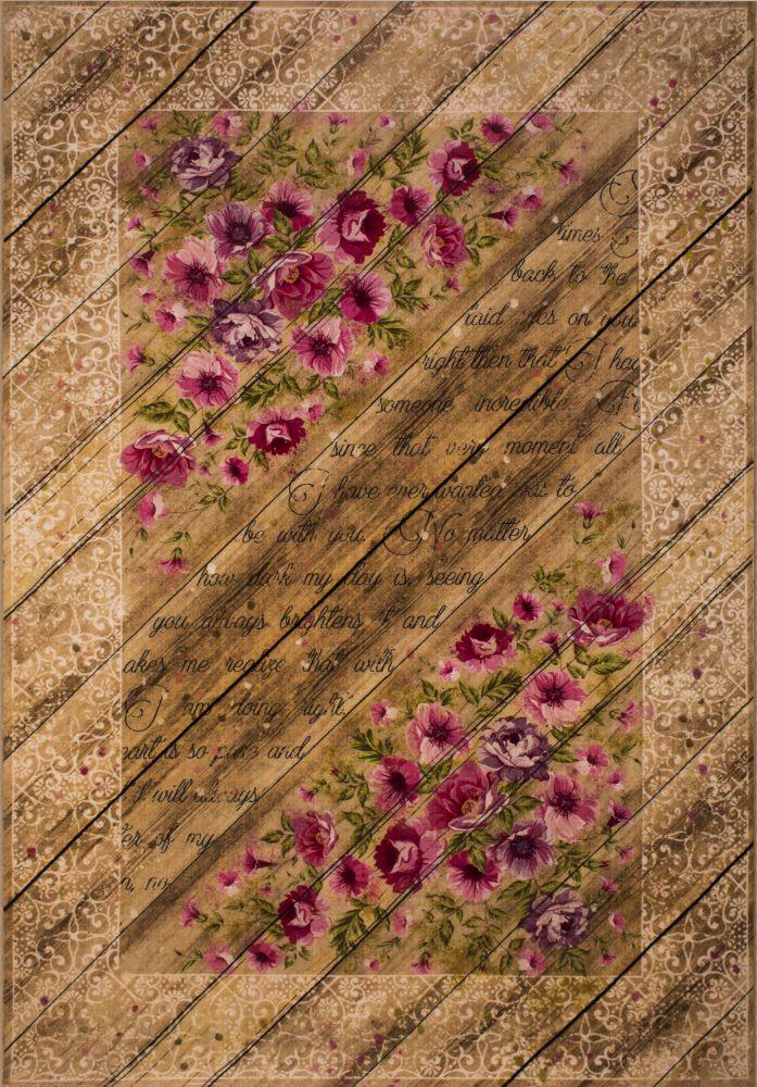 فرش فانتزی کلاریس 100590 بادامی