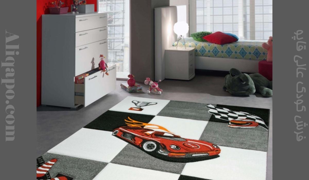 فرش اتاق کودک طرح ماشین