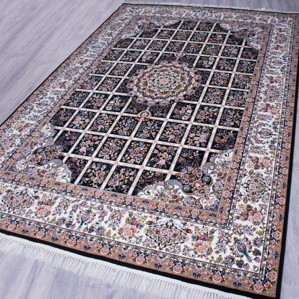 فرش ماشینی گلسار سرمه ای 2