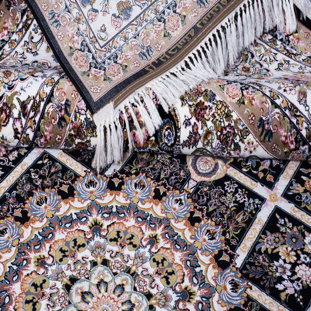 فرش ماشینی گلسار سرمه ای 3