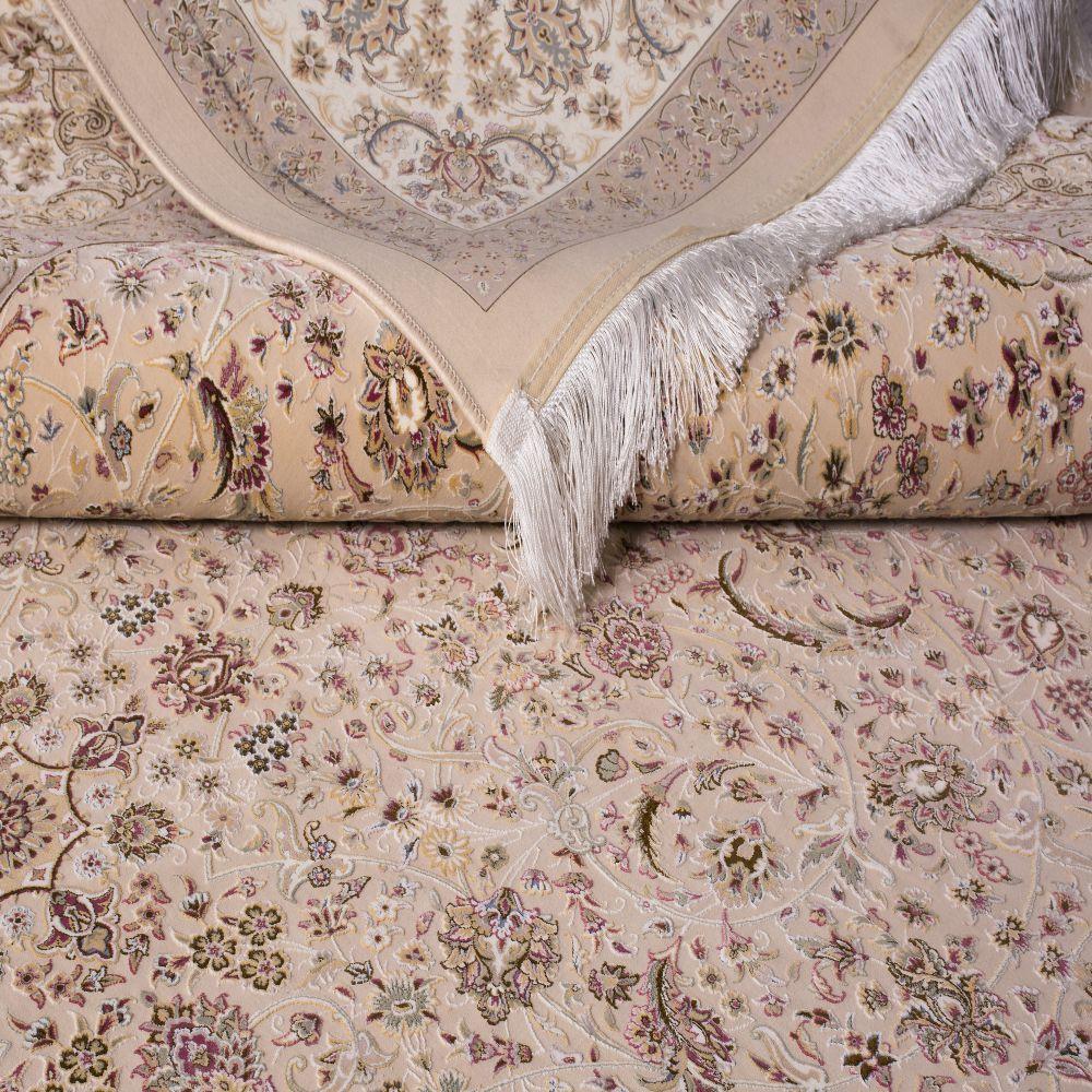 فرش ماشینی گل افشان کرم سفید 3